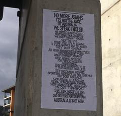 「亞洲人別再來」 雪梨街頭海報抗議飯碗被搶走
