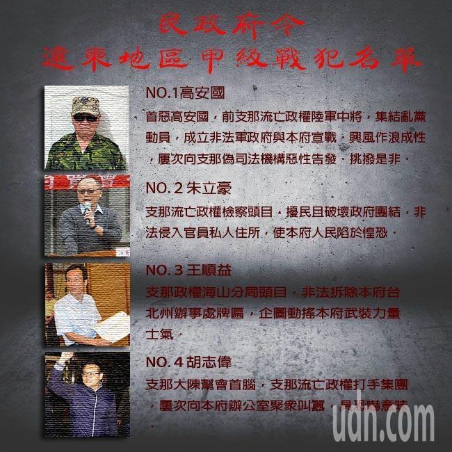 台灣民政府製作「遠東地區甲級戰犯名單」,po在「民政府-黑熊力量」臉書粉絲專頁。...