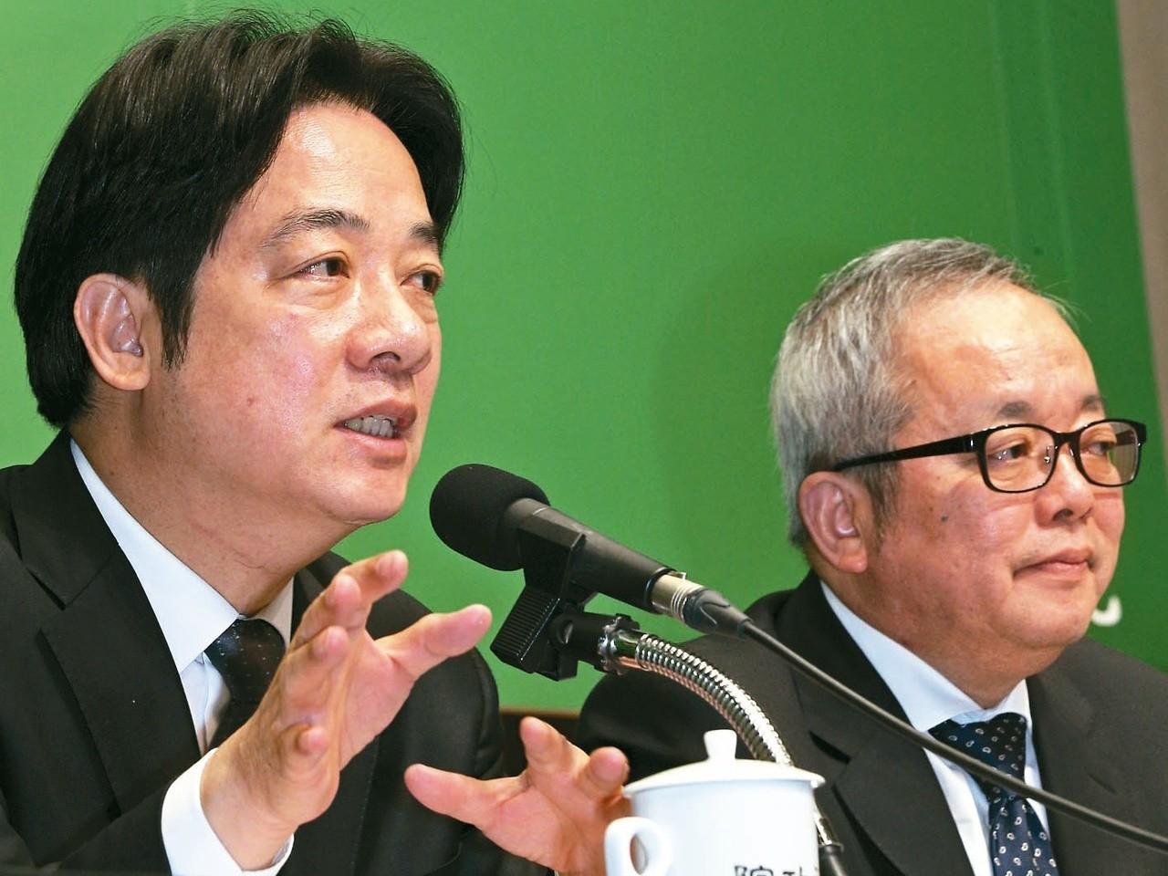 行政院長賴清德(左)日前率領行政院副院長施俊吉(右)等部會首長舉行記者會,宣示要...