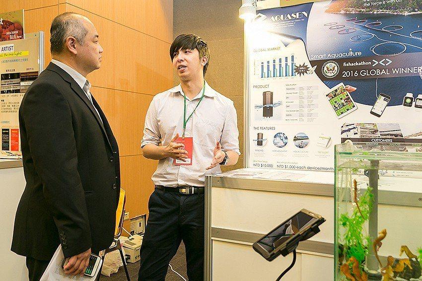 AQUASEN團隊介紹智慧養殖雲監控平台。 國研院/提供