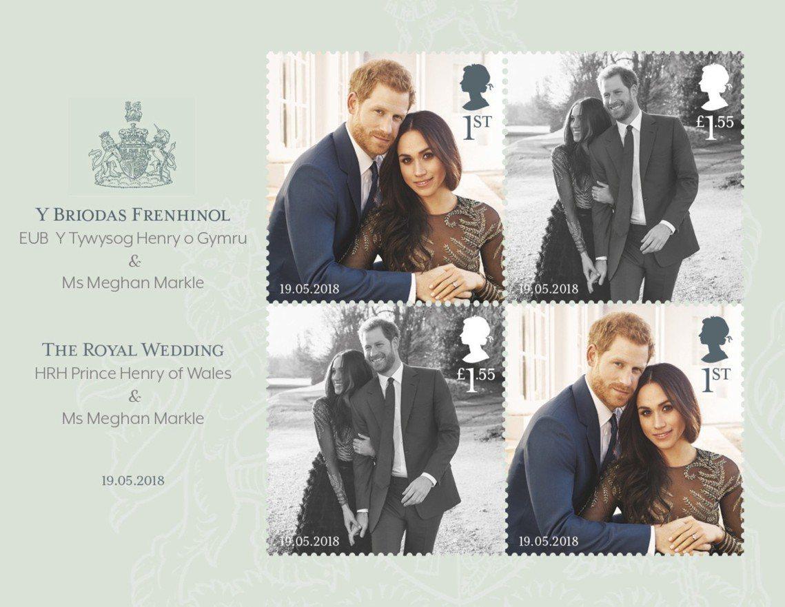 英國哈利王子和梅根.馬克爾的皇家婚禮紀念郵票。 圖/歐新社