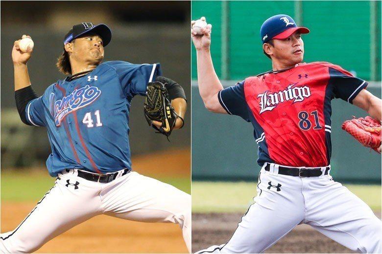 王躍霖(左)及林柏佑(右)去年一起爭奪中繼王,都是加入中職後出賽最多的一年,今年...