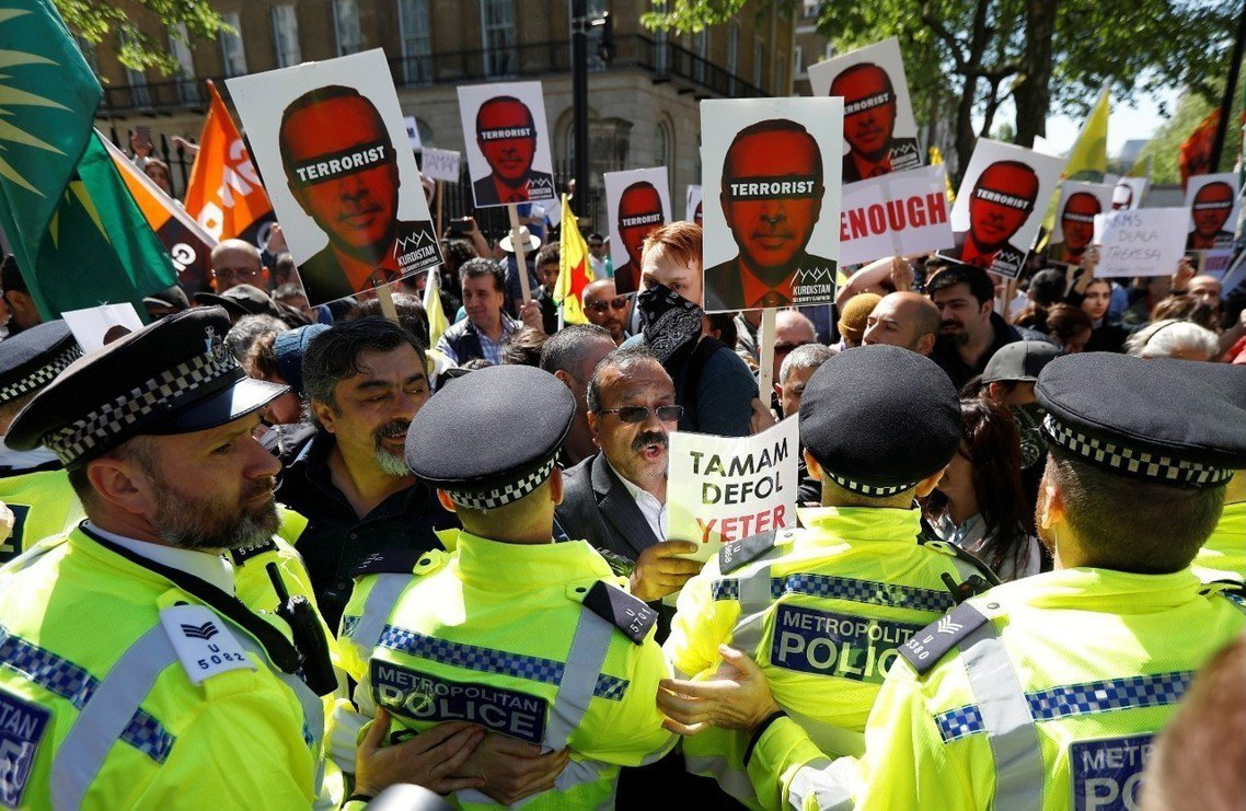 厄多安的訪英行程,也一路引發海外反對團體的激烈抗議。 圖/路透社