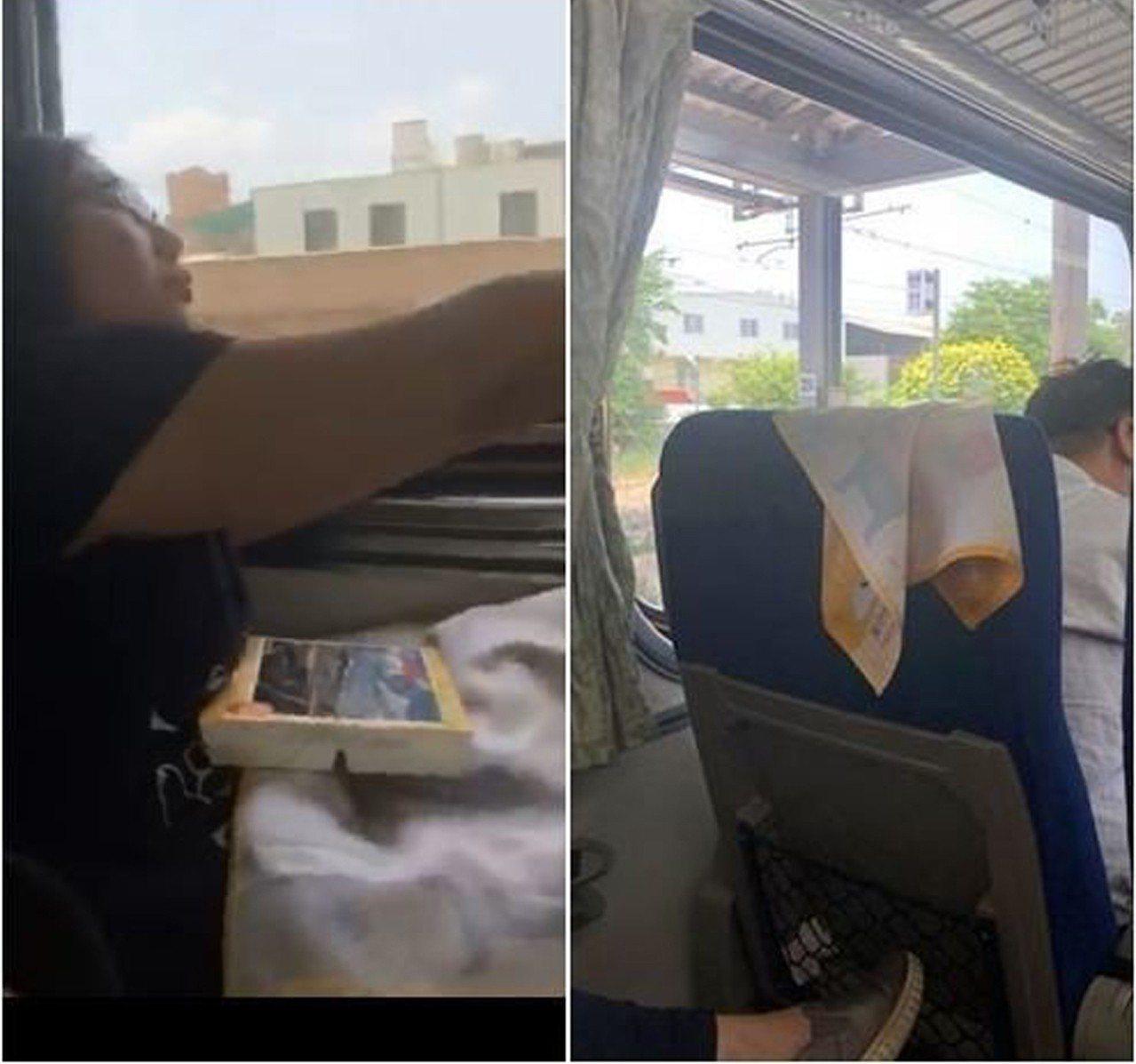 日前有民眾搭火車時,驚見鄰座婦人扯下前座乘客的枕巾鋪在大腿上,用來當成吃便當的餐...