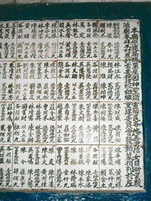 古公廟早年捐款修建廟宇的芳名錄題壁已被搗毀。