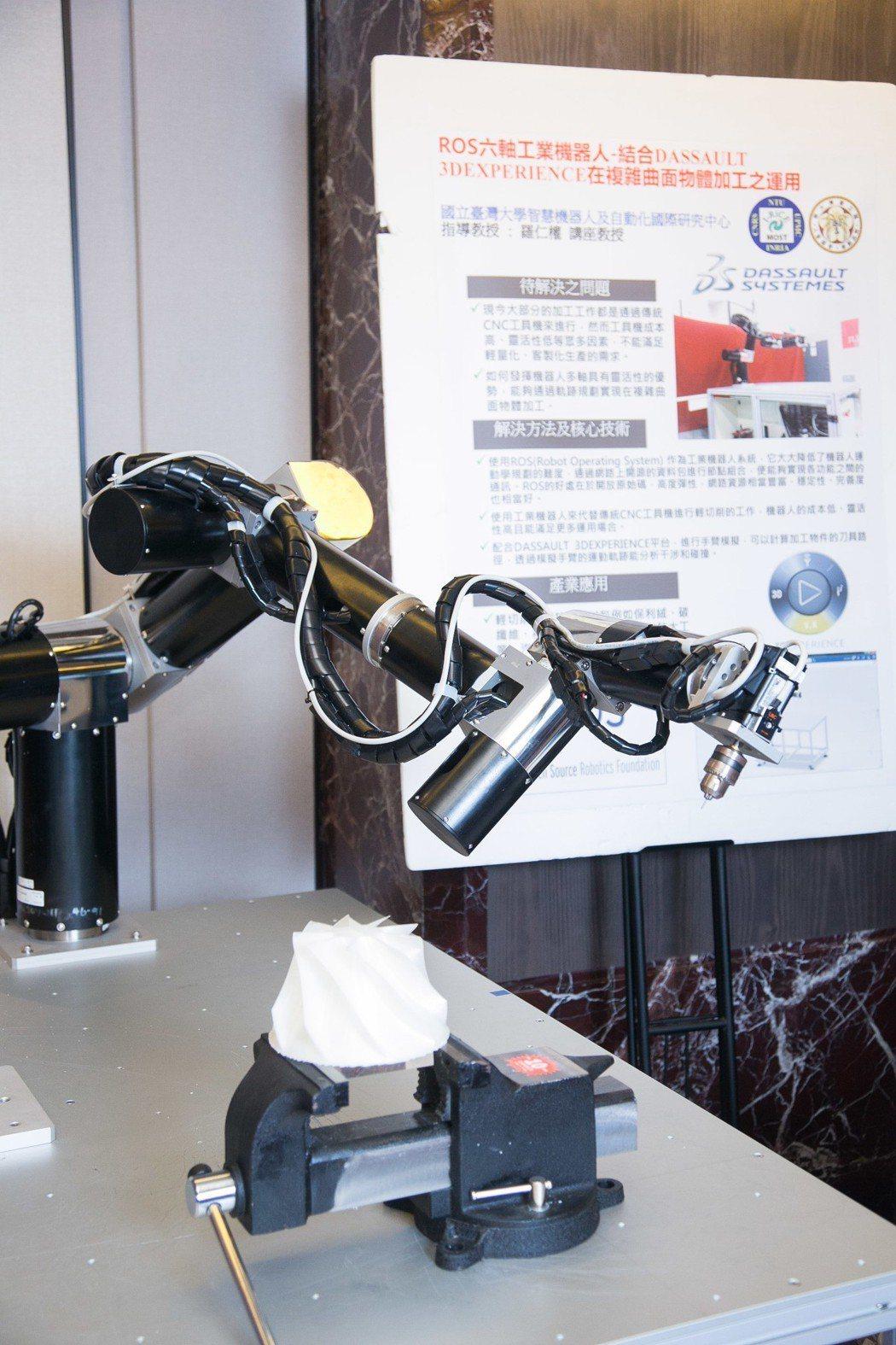 達梭系統3DEXPERIENCE平台可進行機械手臂模擬與分析。 達梭系統/提供