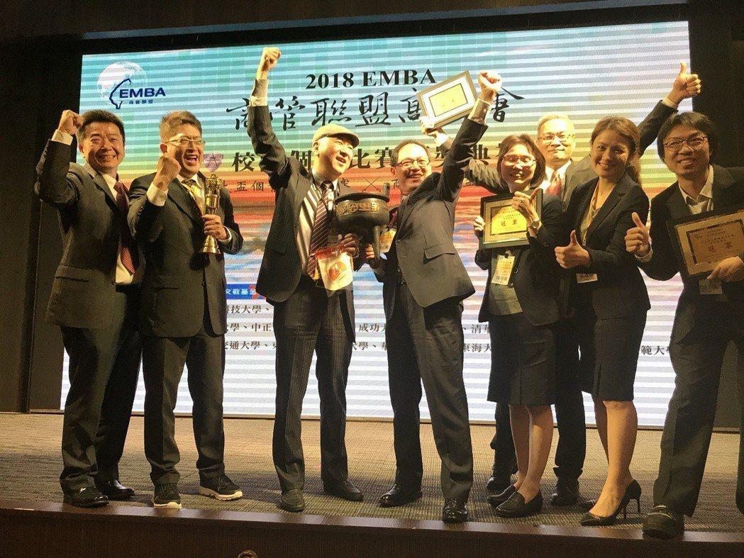 元大盃國際組勇奪冠軍三連霸,南波萬隊興高采烈。 台科大/提供