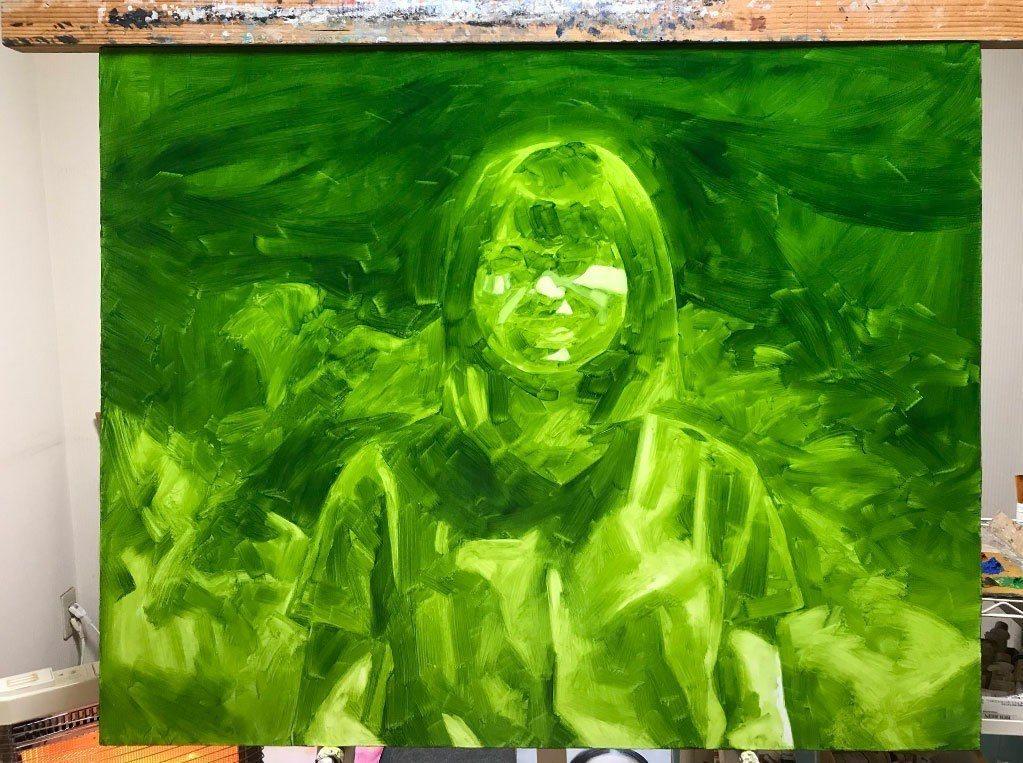日本畫家三重野慶在推特貼出初期畫作的顏色打底照片。 圖擷自三重野慶推特