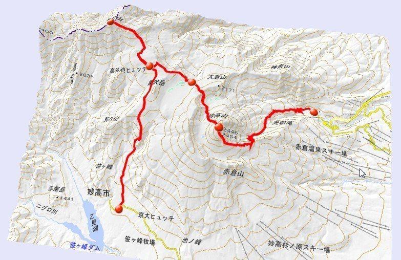 ▲這次兩峰連走的路線。(擷自日本地理院地圖)