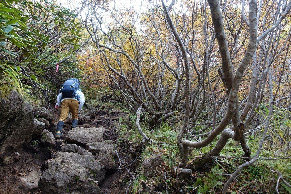 ▲穿越主峰周邊城牆般的外層山峰,充滿許多落差較大的大石!(Cliff 攝)