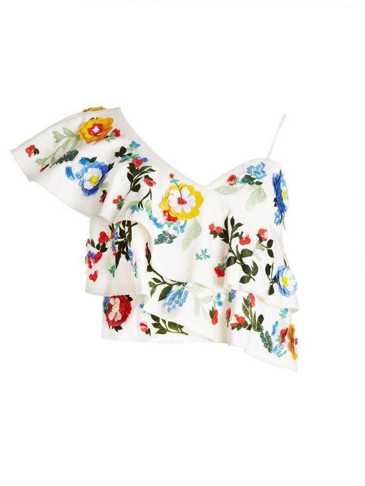 亮片刺繡花卉不對稱上衣,21,500元。圖/alice+olivia提供