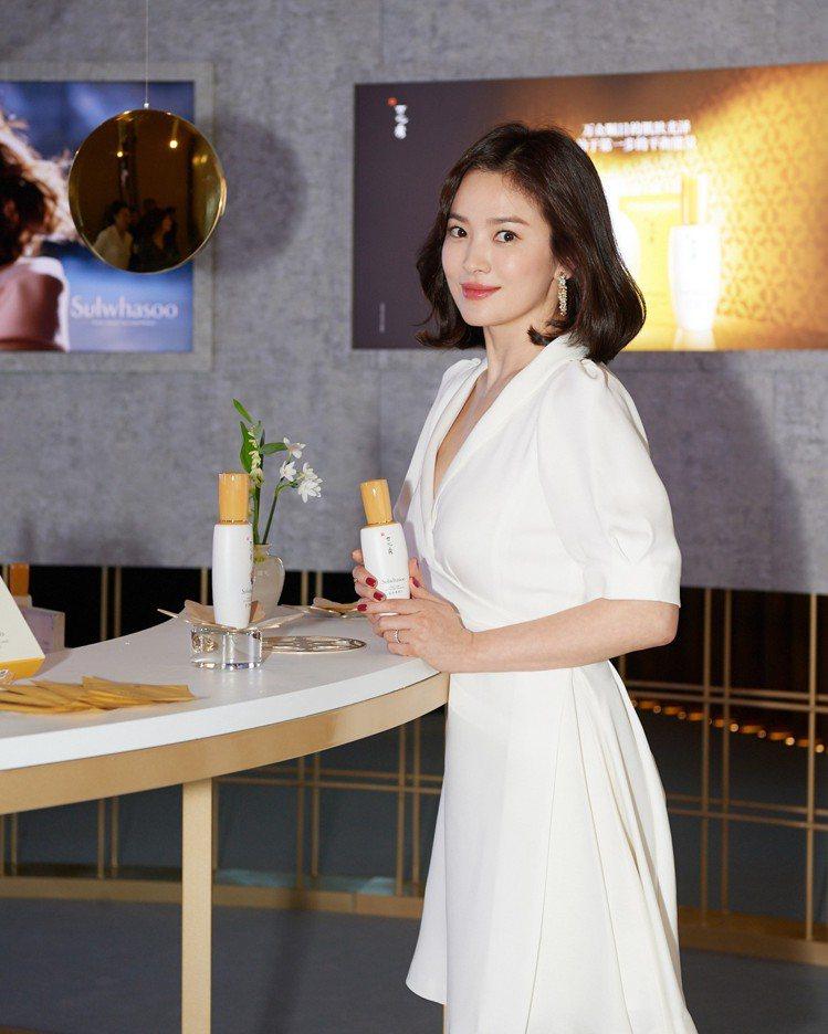 雪花秀全球代言人宋慧喬在上海出席潤燥精華面膜上市活動。圖/雪花秀提供