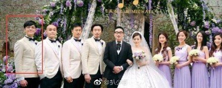 張靚穎和馮柯結婚時,陳秋蒔(左一)是伴郎。圖/摘自微博