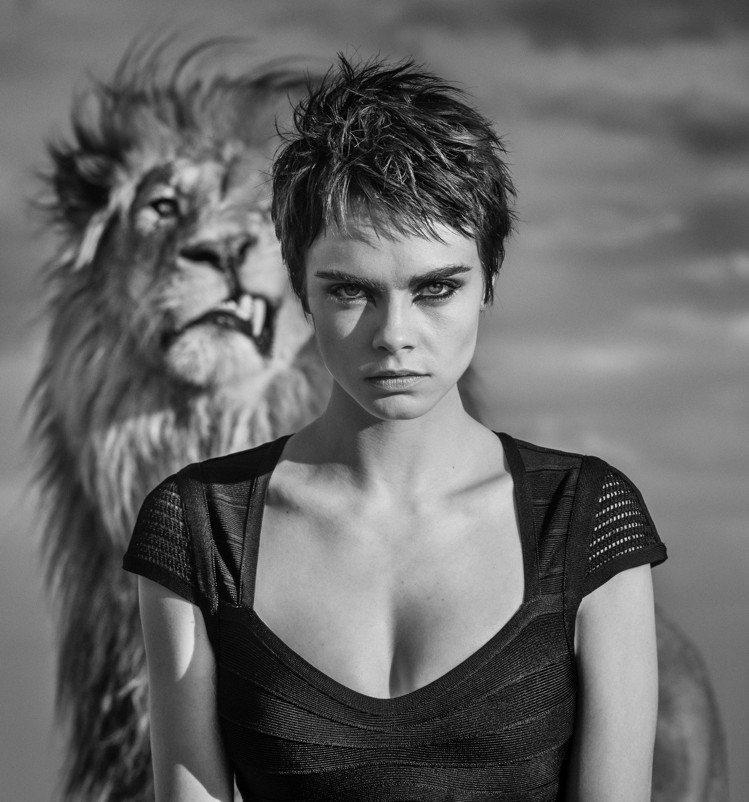超模卡拉迪樂芬妮為泰格豪雅拍攝最新形象視覺,與獅子近距離接觸,不使用替身演員,展...