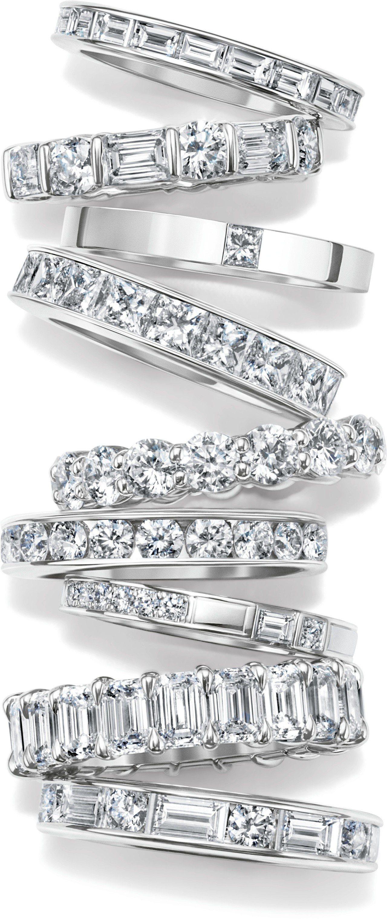 海瑞溫斯頓鑲鑽線戒有不同大小與車工的鑽石可供選擇。圖/海瑞溫斯頓提供