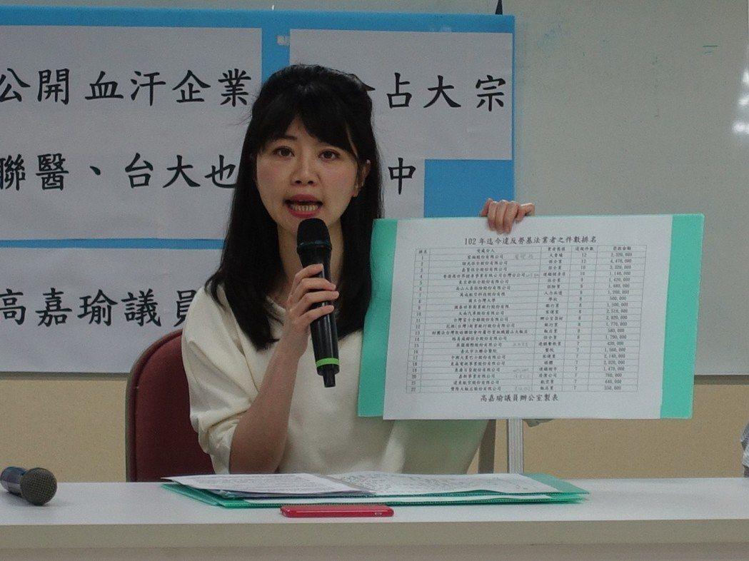 民進黨籍台北市議員高嘉瑜。圖/聯合報系資料照