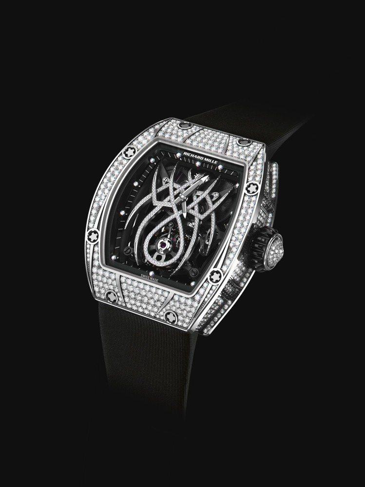 Richard Mille RM 19-01陀飛輪腕表,18K白金鑲鑽表殼,約3...