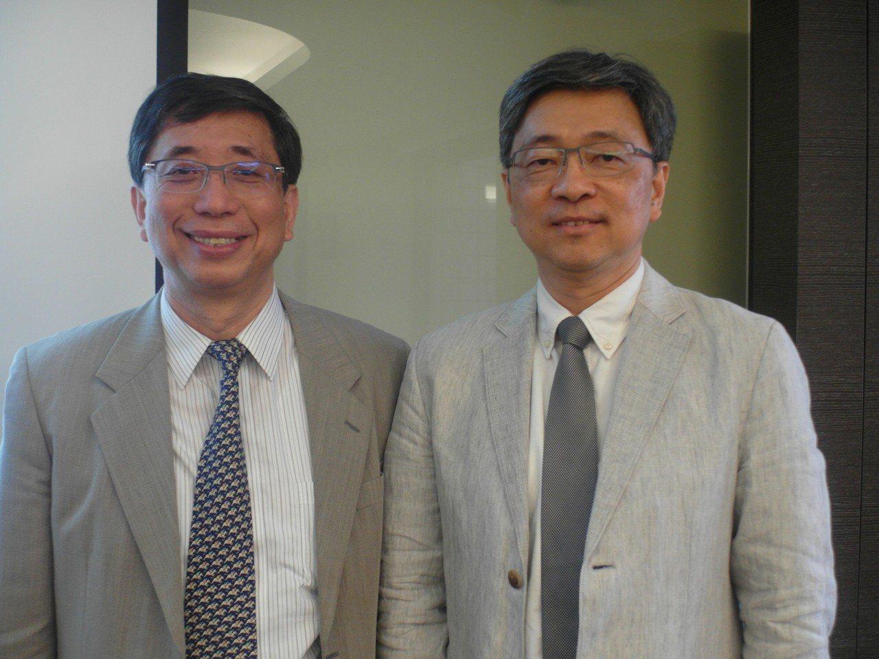 光洋科董事長馬堅勇(左)與總經理黃啟峰。 記者何佩儒/攝影