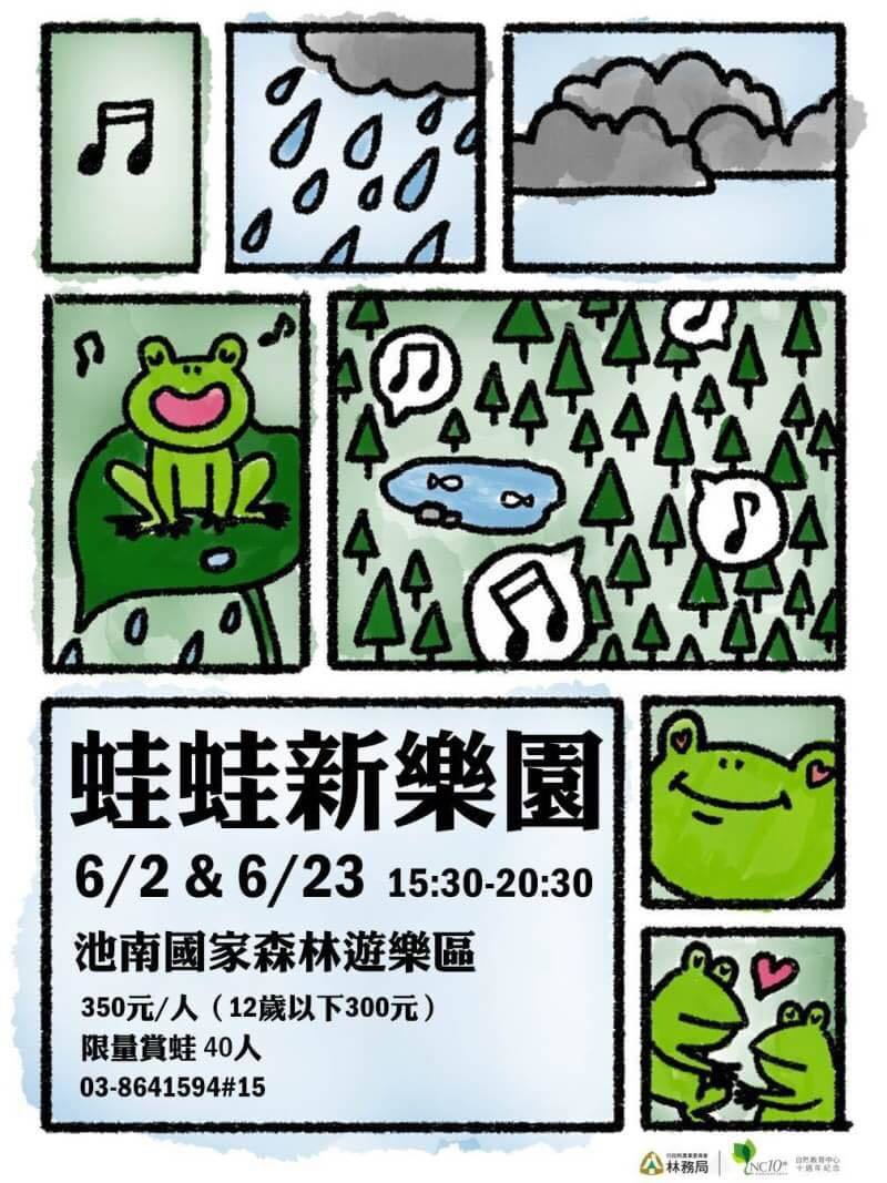「蛙蛙新樂園」活動每場名額40人、限4歲以上參加、高中3年級以下學生需有家長陪同...