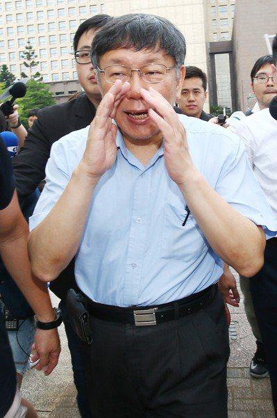 台北市長柯文哲說,目前為止,沒有組白色聯盟政黨的計畫。 記者王騰毅/攝影