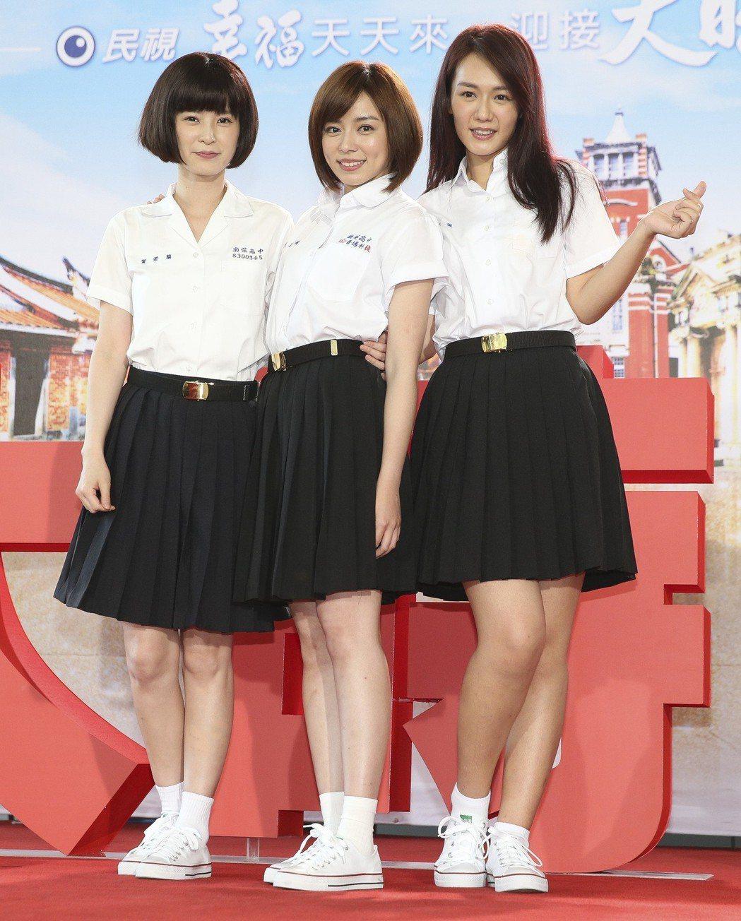 民視8點新戲「大時代」開鏡,楚宣(左起)、王瞳、李又汝。記者楊萬雲/攝影