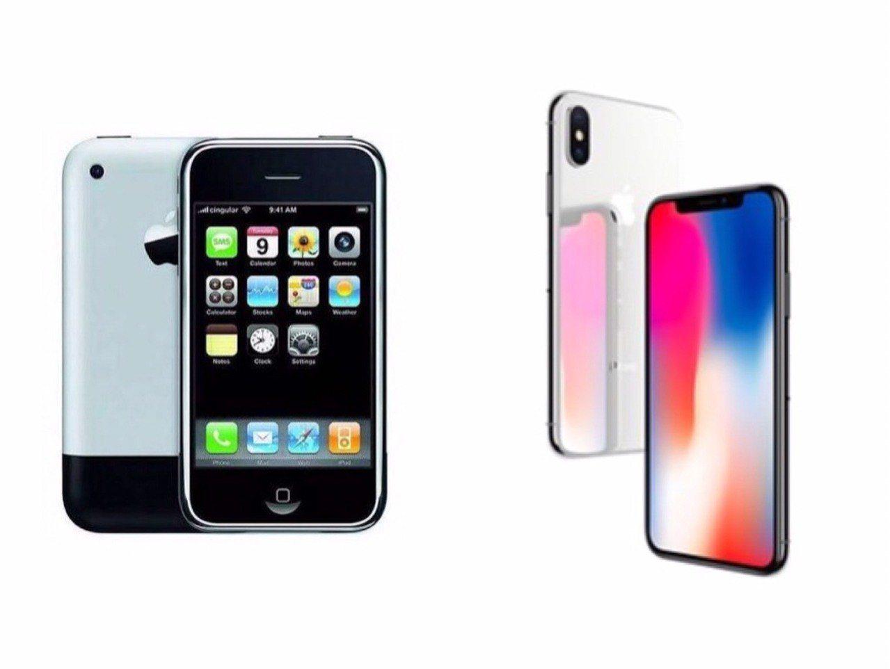 初代iPhone(左)與iPhone X。圖/翻攝自蘋果官網