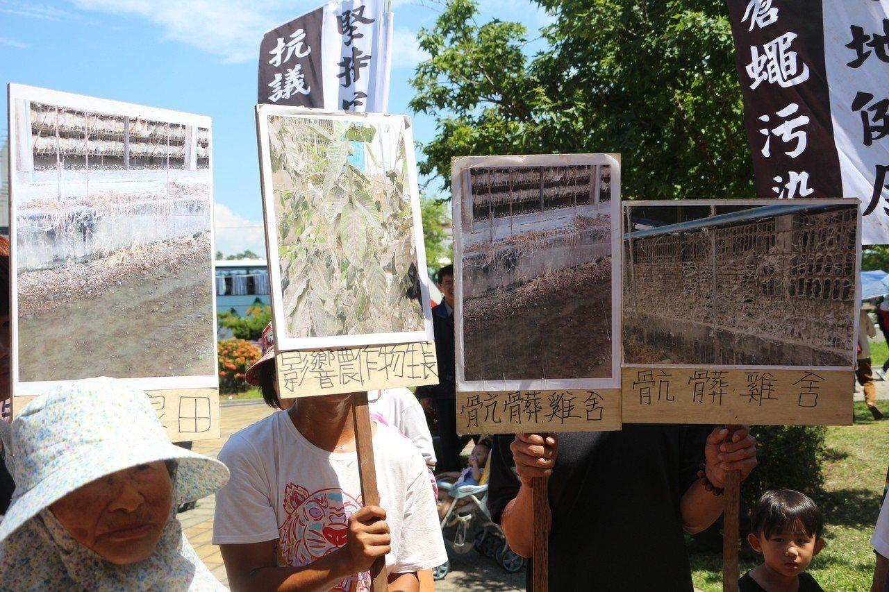 自救會村民自製立牌,抗議養雞場與養豬場興建所帶來惡臭與汙染。記者邱奕能/攝影