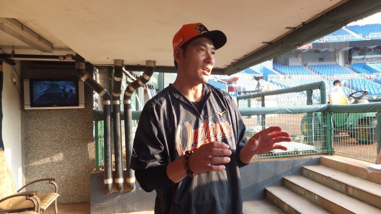 統一獅隊總教練黃甘霖今天把陽建福調上一軍,補強單周5場比賽牛棚戰力。記者藍宗標/...