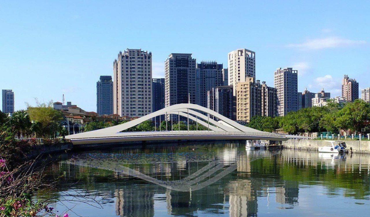 第三代新九如橋(模擬圖)以低拱度橋型融入周邊,有別於傳統拱橋高大拱型結構,嘗試在...