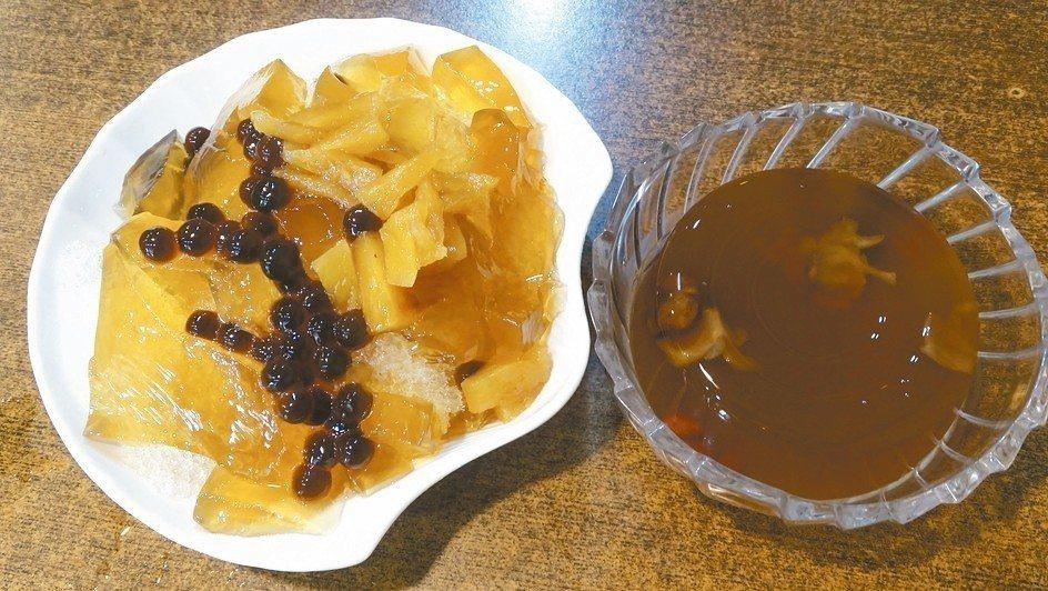 薏荳屋的冰涼海燕窩(右),是獨家的養生凍;鳳梨石花冰(左)是另一項熱點冰品。 記...