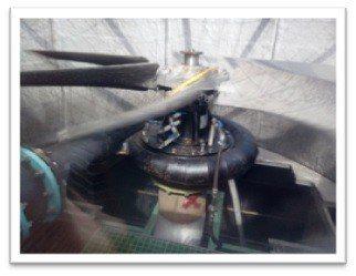 源達機電科技的CT-水輪機,在冷卻水塔改造水輪機的實際運轉情形。 源達機電科技/...