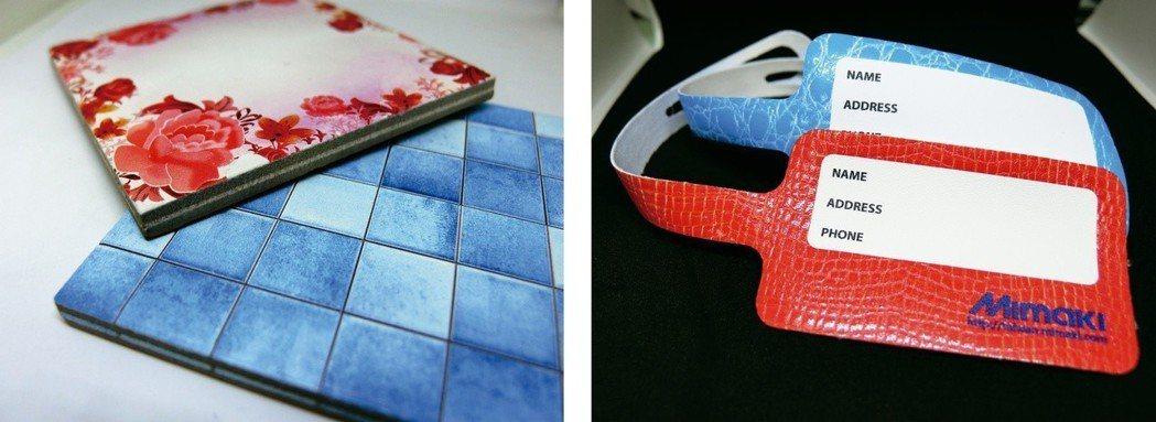 UV平台式噴墨印刷機可噴印製PU皮及磁磚上。台灣御牧/提供