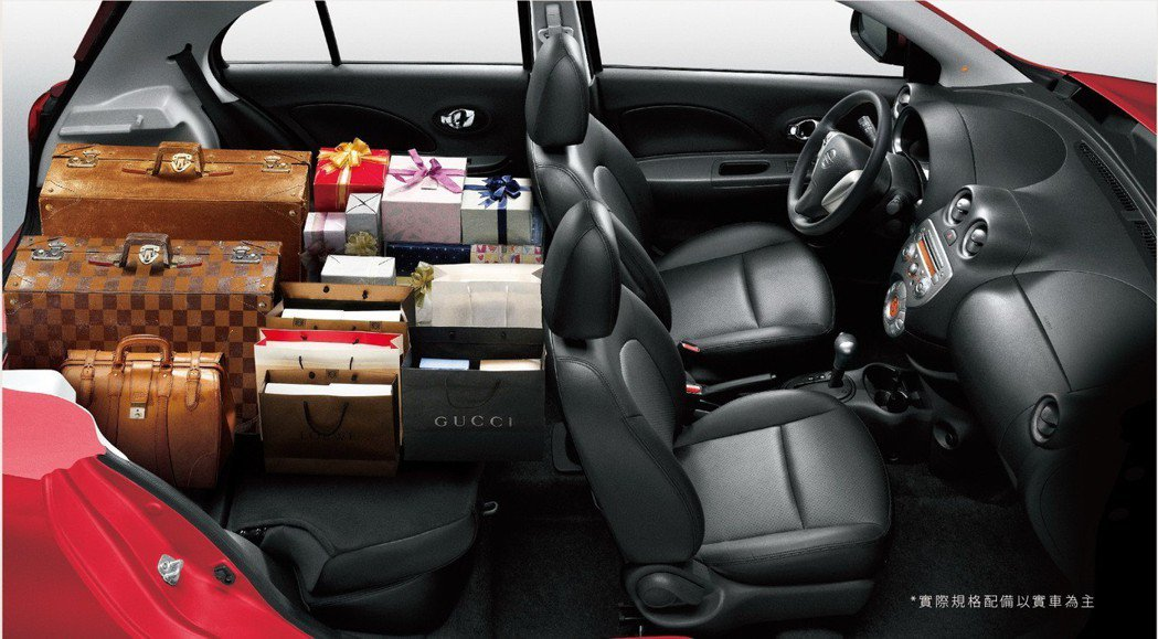 NISSAN MARCH內外兼具,車內配有上下層大型手套箱、多處置杯架與後艙平整...