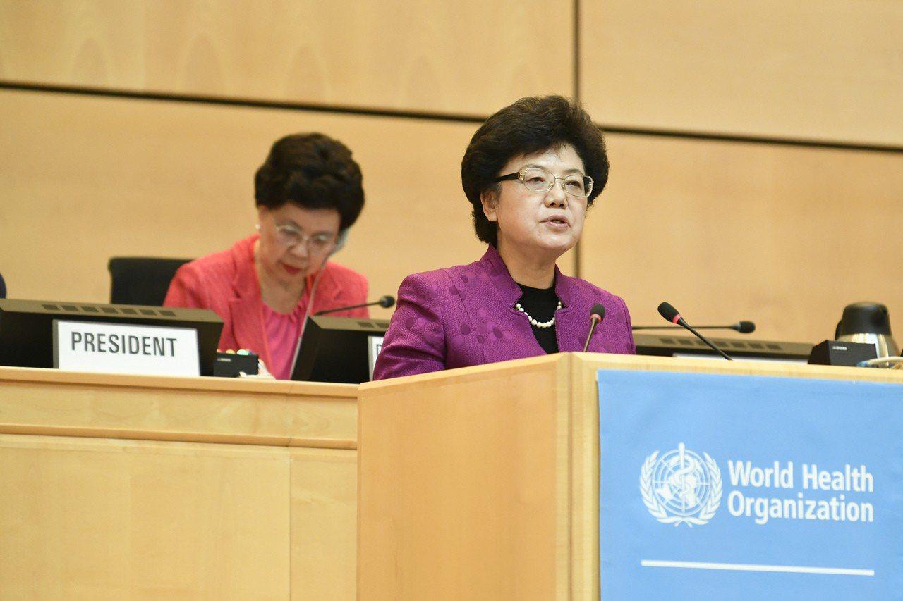 圖為大陸國家衛生和計劃生育委員會主任李斌(前)在第70屆世界衛生大會一般性辯論上...