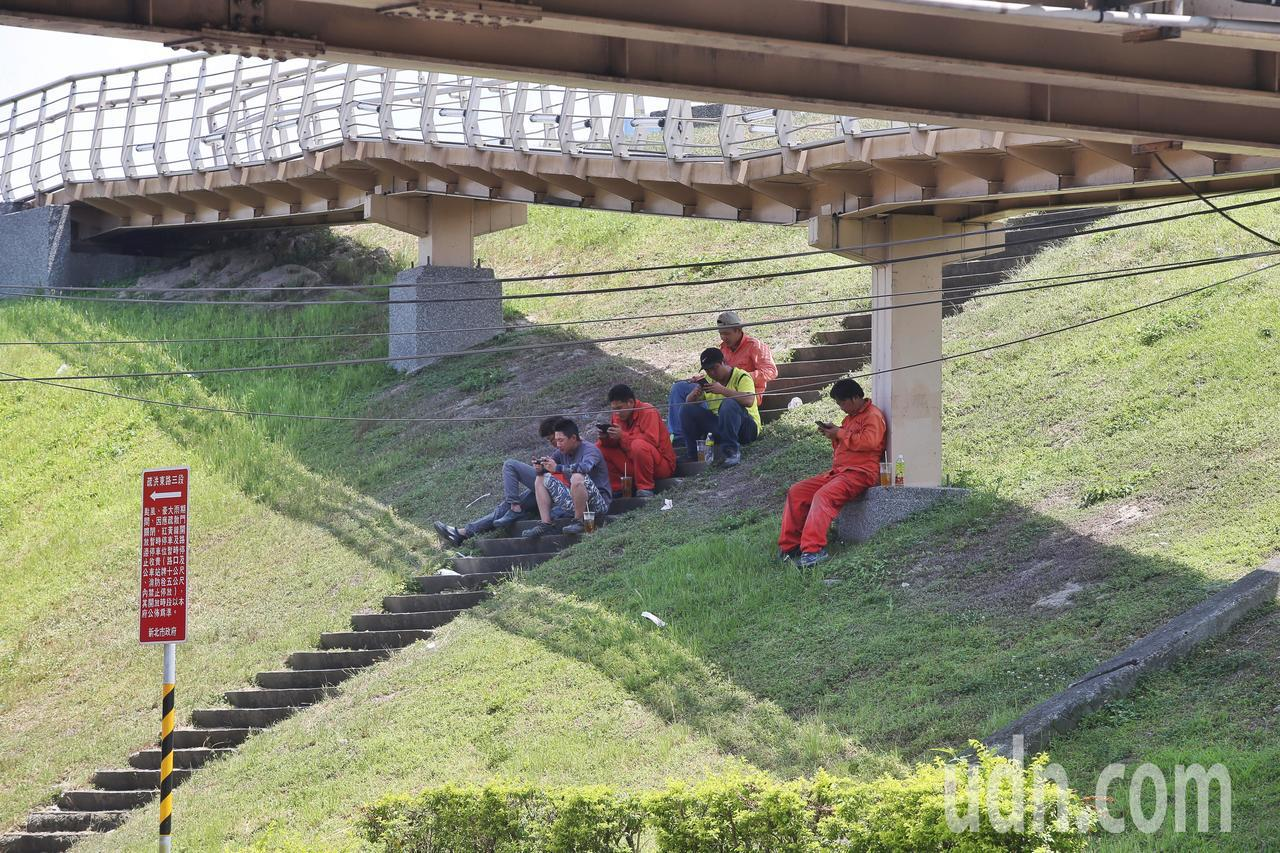 中午休息的工人在橋下休息。記者楊萬雲/攝影