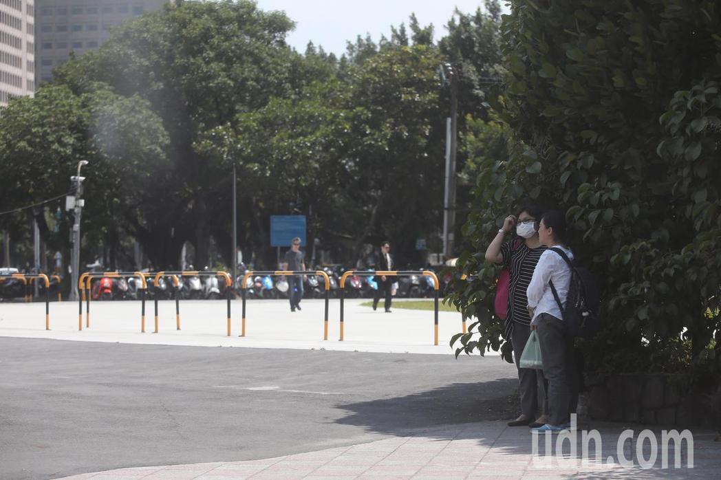 民眾躲在樹蔭下。記者楊萬雲/攝影