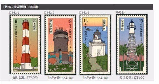 107年版「燈塔郵票」1套4枚,5月23日發行。圖/航港局提供