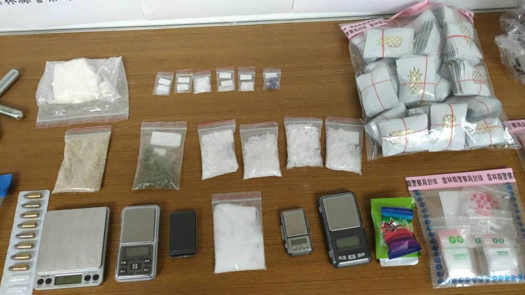 警方查扣子彈8發與市價估計50萬元毒品。 圖/警方提供