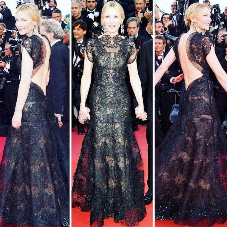 凱特布蘭琪身穿4年前詮釋過的Giorgio Armani Privé訂製服,展現...