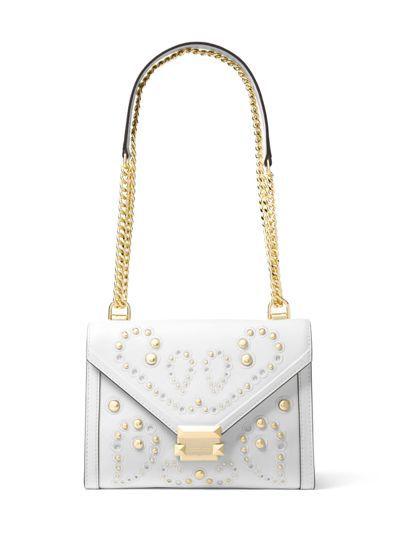 Whitney白色圖騰鍊帶包,售價19,400元。圖/MICHAEL KORS提...