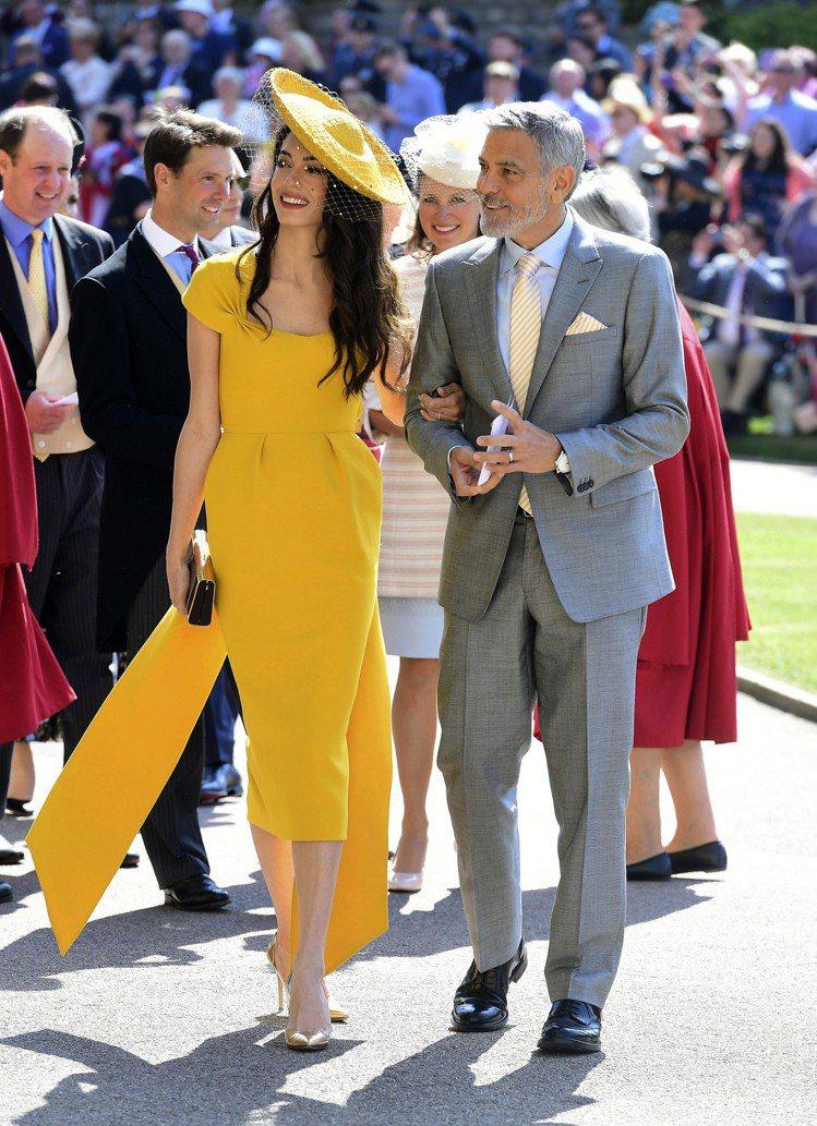 阿拉瑪汀身穿Stella McCartney出席皇室婚禮。圖/美聯社