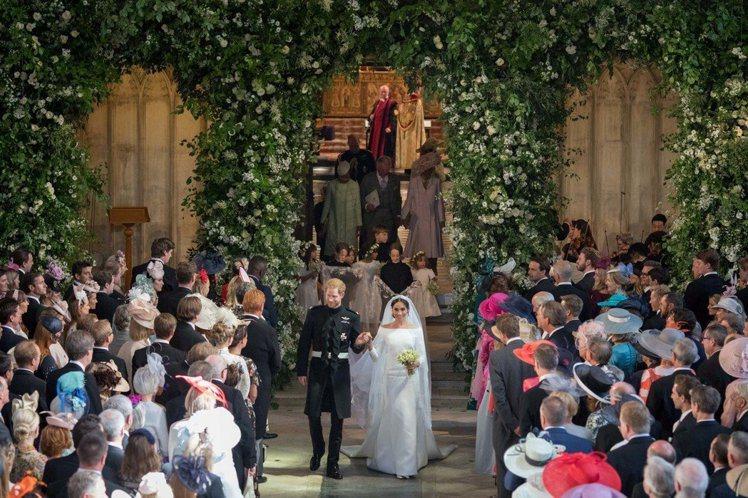 哈利王子和梅根馬可的皇室婚禮在溫莎城堡舉行。圖/路透