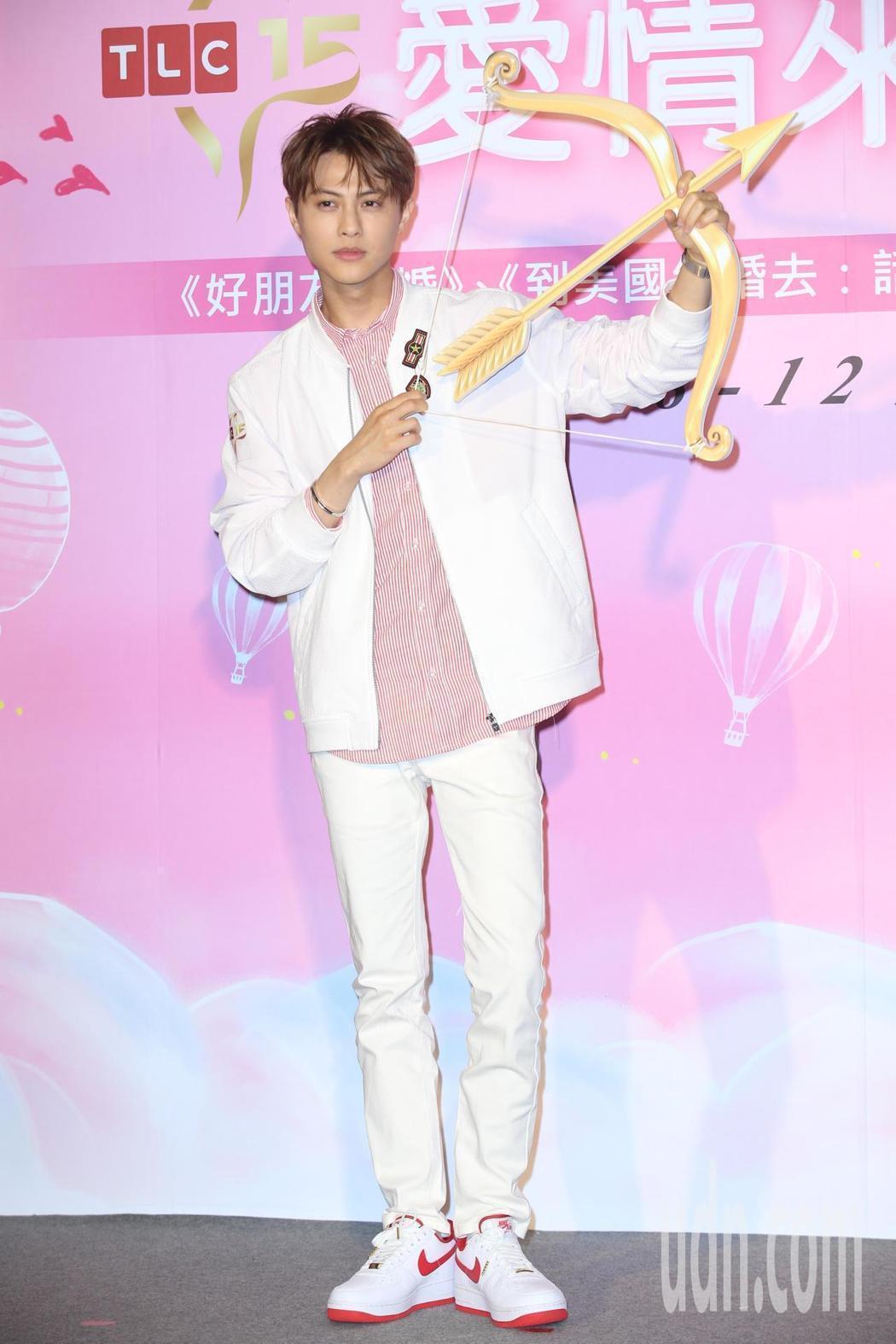 王子邱勝翊下午出席TLC旅遊生活頻道「520愛情來了」活動,化身「邱」比特。記者...