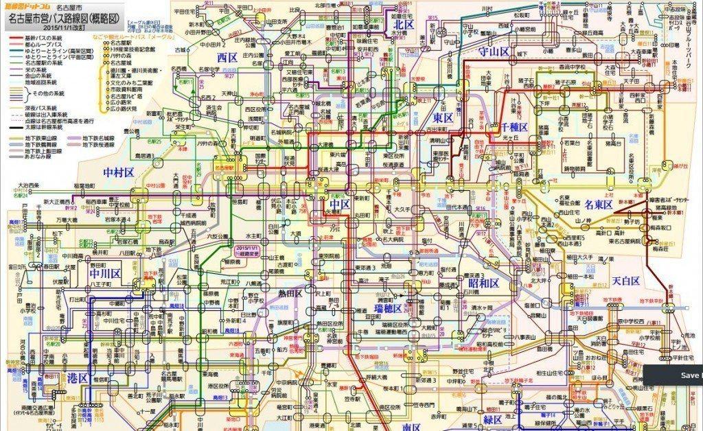 名古屋市營公車路線圖 JR名古屋市交通局官網