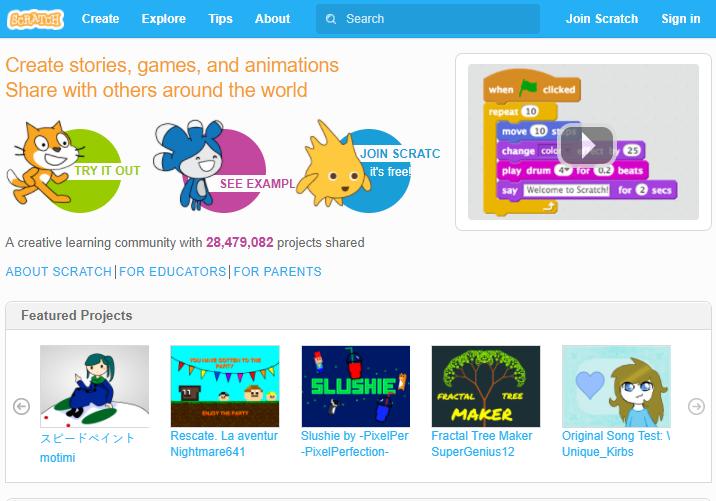 Scratch創作者能透過雲端與其他人交流專案,平均每月就有超將近一百萬的點擊率...