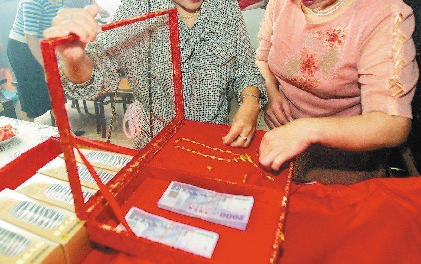 台灣人結婚時重禮俗,但隨著時代進步,對於收不收聘金有不同的看法。 聯合報系資料照...