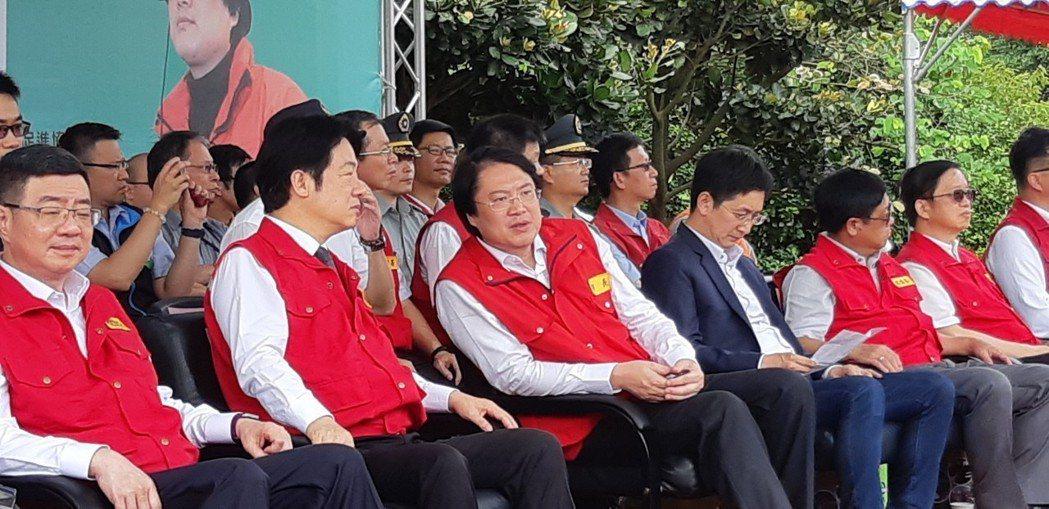 行政院院長賴清德與基隆市市長林右昌出席災害演練。記者賴郁薇/攝影