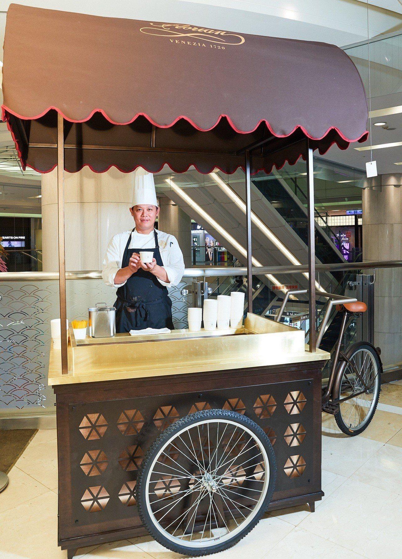 福里安花神咖啡台中店,首度推出外賣小花車「花神義式冰淇淋」。圖/新光三越提供