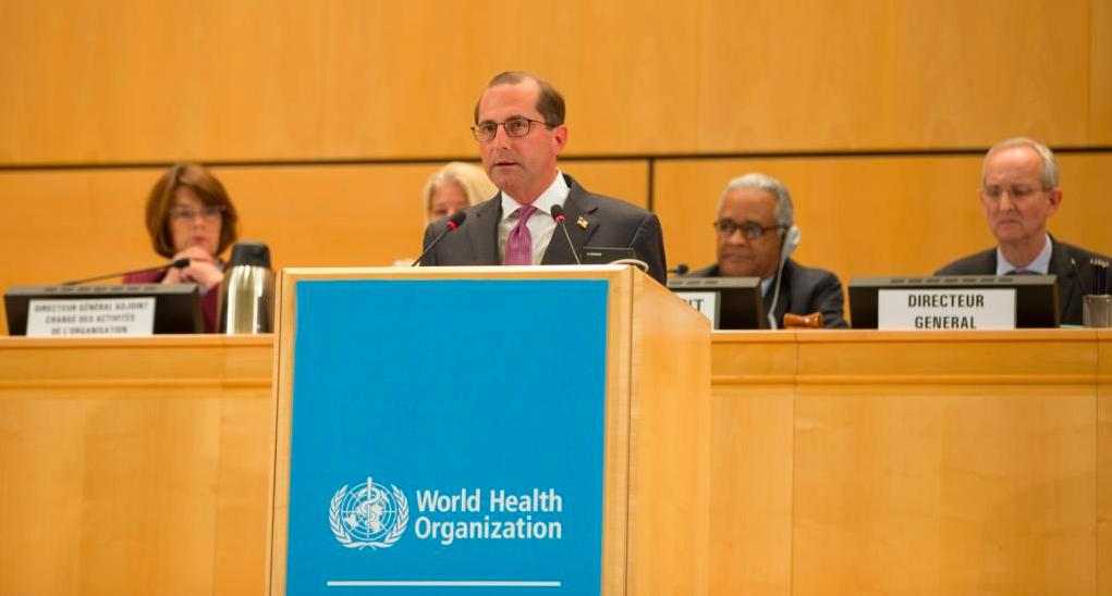美國衛生部長阿查爾22日於世衛大會發言。圖/取自阿查爾推特