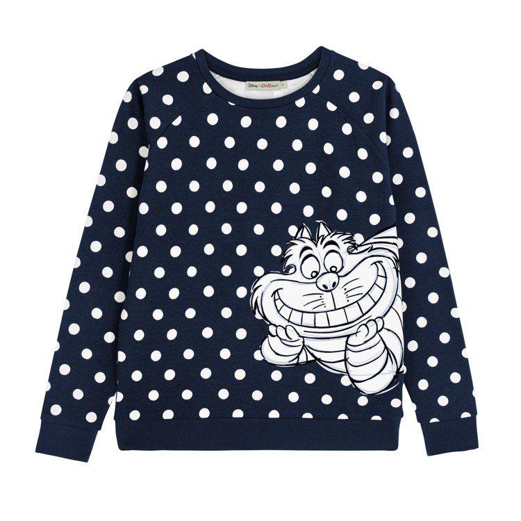 「愛麗絲夢遊仙境」系列妙妙貓圓點女裝長袖上衣,3,980元。圖/Cath Kid...